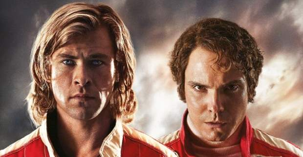 Chris Hemsworth is James Hunt and Daniel Bruhl is Niki Lauda in 'Rush'.