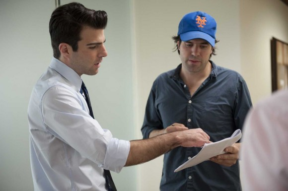 Director J.C. Chandor (right) and Zachary Quinto (left) on the set of 'Margin Call'
