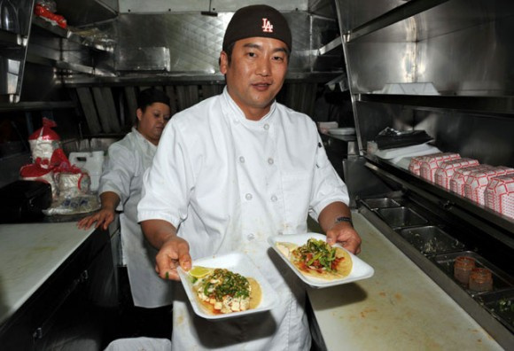 Chef Roy Choi in his gourmet food truck, Kogi