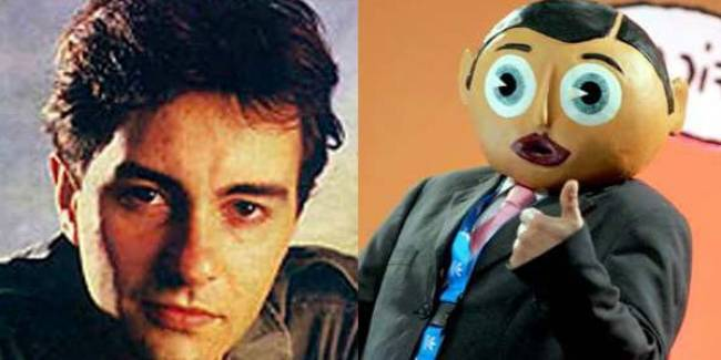 Chris Sievey and his alter-ego Frank Sidebottom.