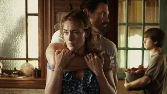 Kate Winslet falls for Josh Brolin's  as a swarthy stranger in 'Labor Day'.