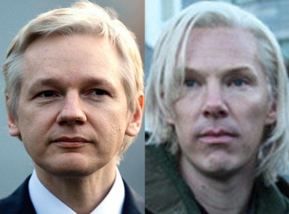 (Left) Julian Assange is portrayed in 'The Fifth Estate' by Benedict Cumberbatch  (right).