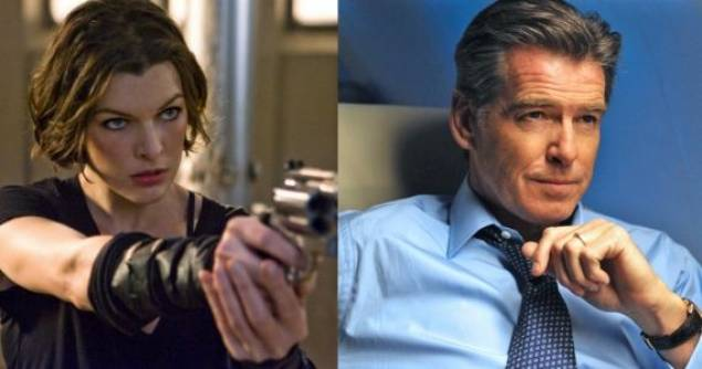 Milla Janovich and Pierce Brosnan star in 'Survivor'