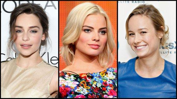 (From left to right) Emilia Clarke, Margot Robbie, Brie Larson