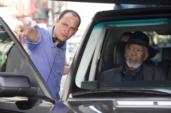 Louis Leterrier, directing Morgan Freeman in 'Now You See Me'