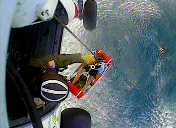 The Long Island Coast Guard rescuing John Aldridge after 15 hrs. adrift at sea.