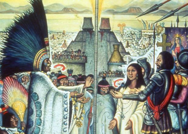 Montezuma befriends Cortez, who ultimately betrays him.