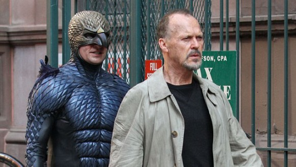 Michael Keaton (right) stars in 'Birdman' as a washed up actor who formerly portrayed the titular superhero in the backbround