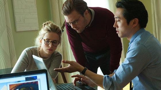 Michael Pitt, Britt Marling, and Steven Yeun in Mike Cahill's I Origins