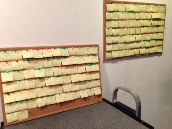 This is the plot for 'Love is All You Need,' with color-coded post-it notes for each interwoven plotline and event in the film.