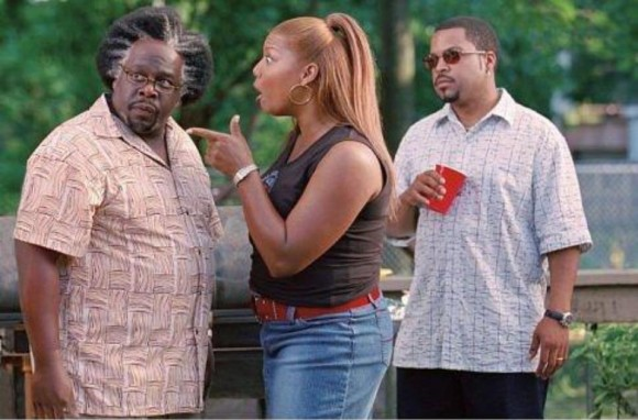 Cedric The Entertainer, Queen Latifah, and Ice Cube in Barbershop 2: Back in Business