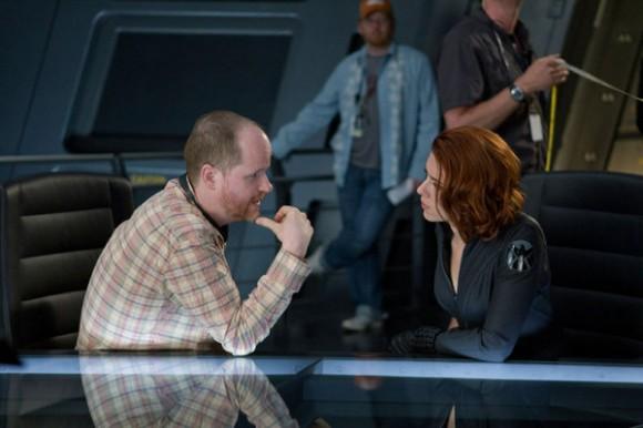Joss Whedon and Scarlett Johansson on the set of 'The Avengers'